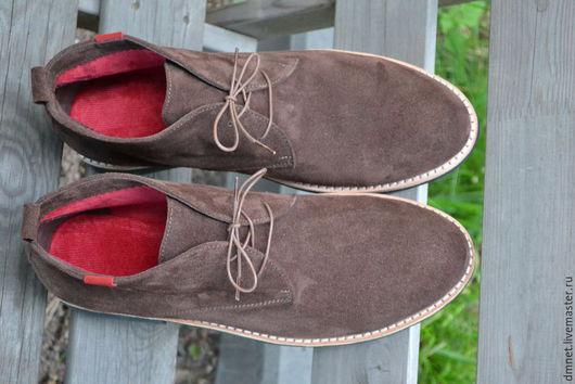 Обувь ручной работы. Ярмарка Мастеров - ручная работа. Купить Мужские ботинки замшевые на шнурках. Handmade. Коричневый, шнурок