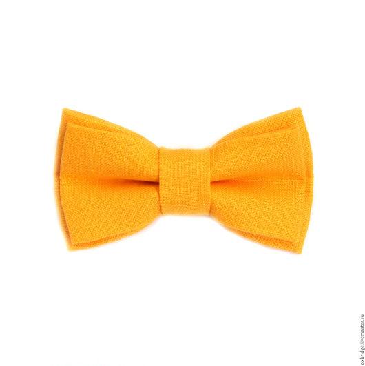 Галстуки, бабочки ручной работы. Ярмарка Мастеров - ручная работа. Купить Галстук-бабочка ярко-желтый из льна. Handmade.