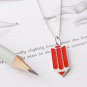 Украшения handmade. Livemaster - original item Pencil silver pendant with cold enamel. Handmade.