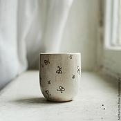Посуда ручной работы. Ярмарка Мастеров - ручная работа маленький стакан с мотыльками. Handmade.