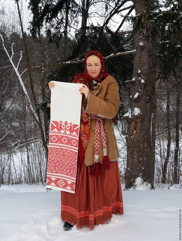 Славянский свадебный рушник `Воплощение` вышивка машинная крестом
