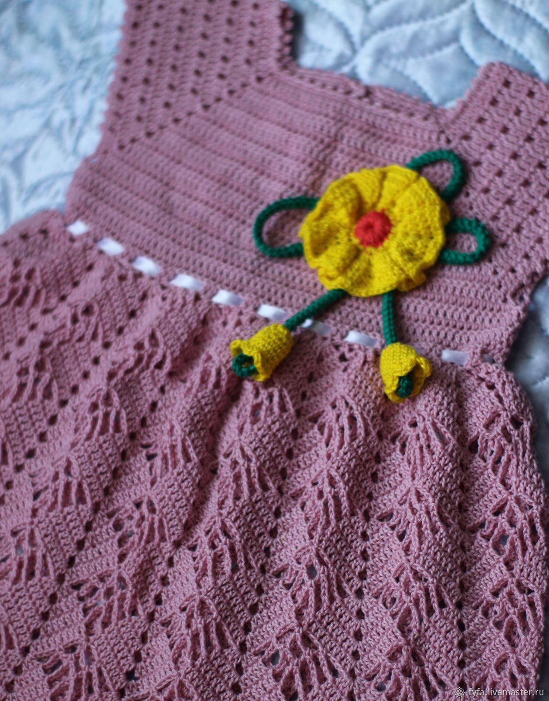 Платье для девочки вязаное нежная сирень