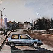 Картины и панно handmade. Livemaster - original item Painting watercolor Evening. Minsk. Handmade.