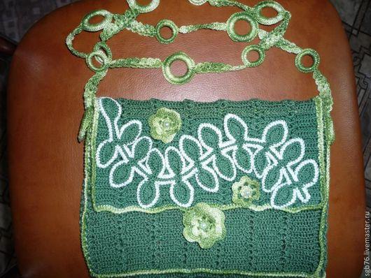 Женские сумки ручной работы. Ярмарка Мастеров - ручная работа. Купить Сумочка - косметичка. Handmade. Тёмно-зелёный, сумочка вязаная