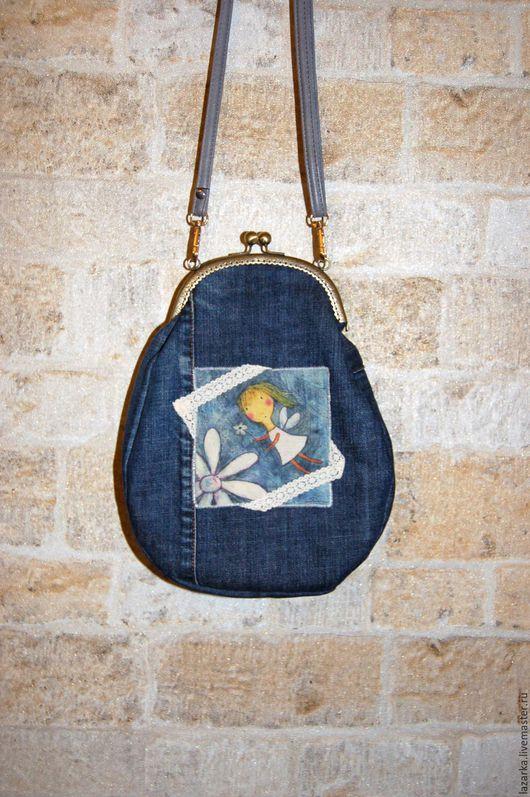 Женские сумки ручной работы. Ярмарка Мастеров - ручная работа. Купить Джинсовая сумочка с фермуаром. Handmade. Тёмно-синий