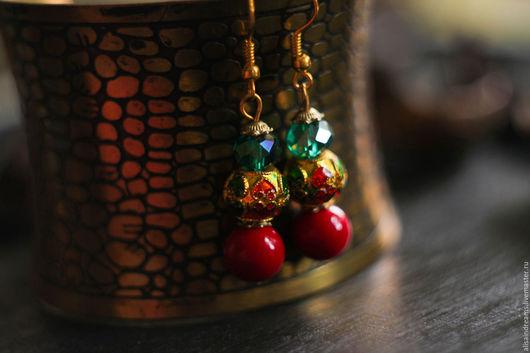 """Серьги ручной работы. Ярмарка Мастеров - ручная работа. Купить Серьги """"Непал"""". Handmade. Ярко-красный, непал, цирконы"""