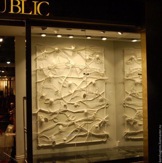"""Дизайн интерьеров ручной работы. Ярмарка Мастеров - ручная работа. Купить панно для """"Love Republic""""_Ветки и яблоки. Handmade. Белый"""