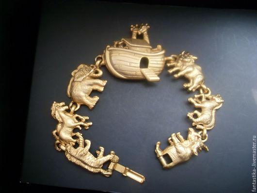 Винтажные украшения. Ярмарка Мастеров - ручная работа. Купить Винтажный браслет A.J.C.. Handmade. Золотой, бижутерный сплав