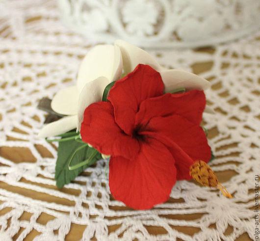 """Заколки ручной работы. Ярмарка Мастеров - ручная работа. Купить Заколка """"Тропические цветы"""". Handmade. Заколка для волос, гибискус"""