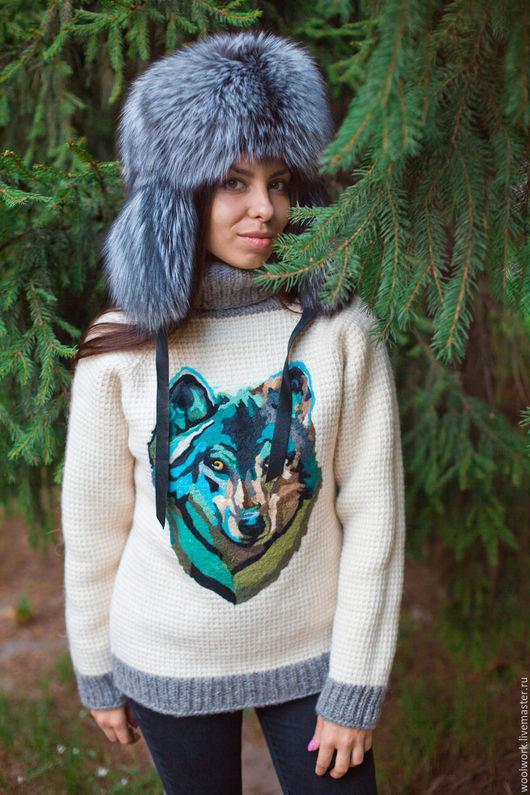 Вязаный женский свитер с рисунком волка шерстяной свитер ручной работы свитер с волком подарок для женщины  из натуральной шерсти  для отдыха на природе красиво воротник – гольф  для девушки WW
