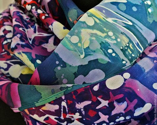 Шарфы и шарфики ручной работы. Ярмарка Мастеров - ручная работа. Купить Сирень (impression). Handmade. Сиреневый, батик купить, цветы
