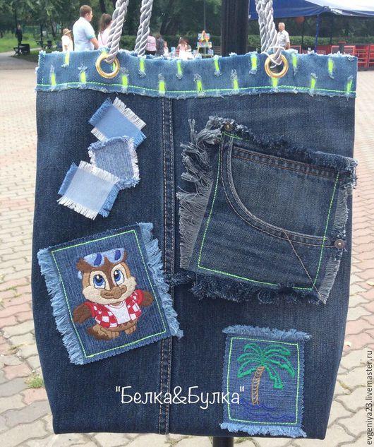 Женские сумки ручной работы. Ярмарка Мастеров - ручная работа. Купить джинсовая сумка. Handmade. Комбинированный, пляжная сумка
