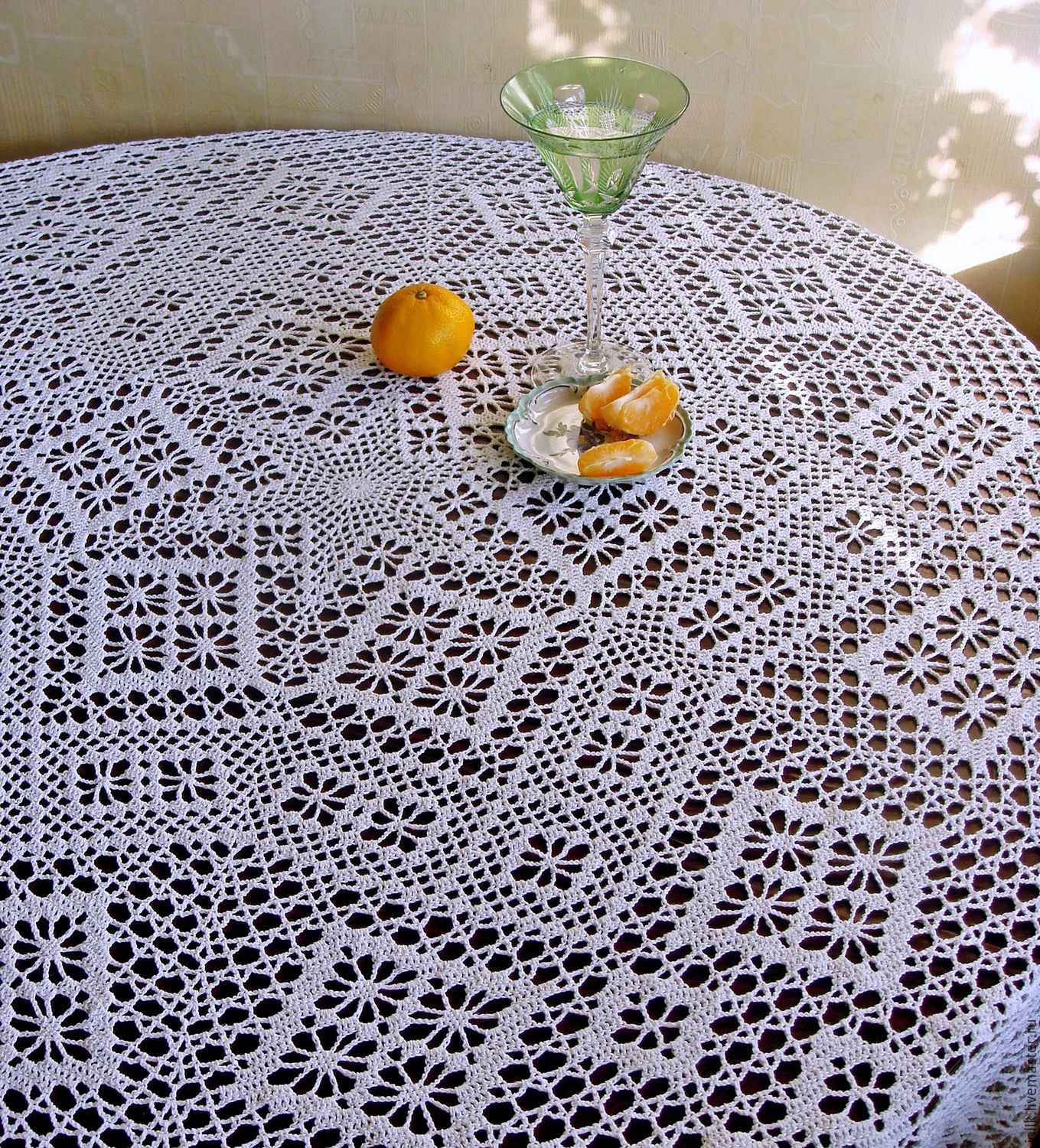 Crocheted Round Tablecloth Star Shop Online On Livemaster With
