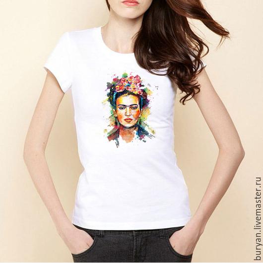 """Футболки, майки ручной работы. Ярмарка Мастеров - ручная работа. Купить Женская футболка """"Фрида Кало"""". Handmade. Белый, фрида"""
