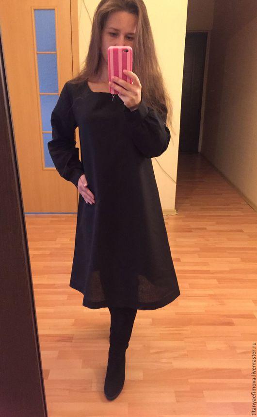 Платья ручной работы. Ярмарка Мастеров - ручная работа. Купить Черное платье миди с рукавами из льна. Handmade. Черный