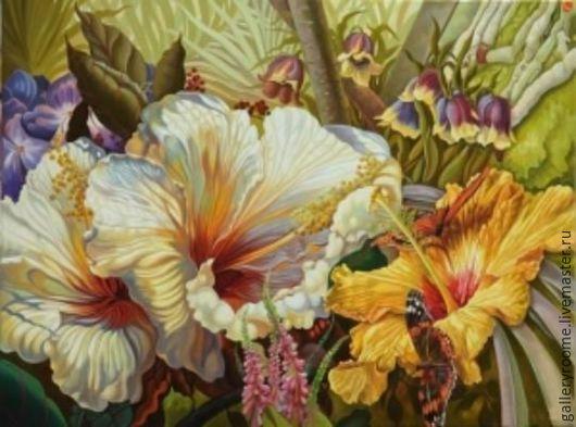 Другие виды рукоделия ручной работы. Ярмарка Мастеров - ручная работа. Купить Картина по номерам Цветы с мотыльком. Handmade.