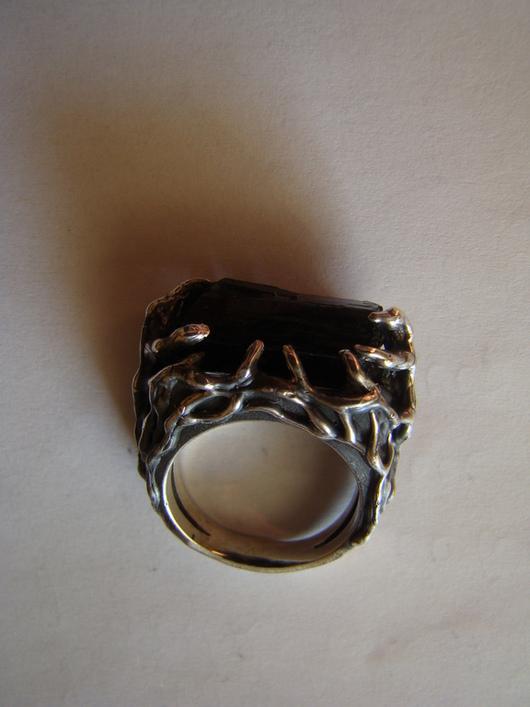 Кольца ручной работы. Ярмарка Мастеров - ручная работа. Купить Кольцо с шерлом. Handmade. Черный, шерл