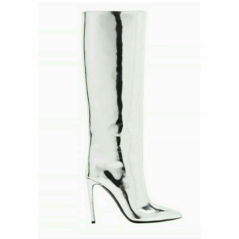 Boots handmade leather silver gloss, High Boots, Barnaul,  Фото №1