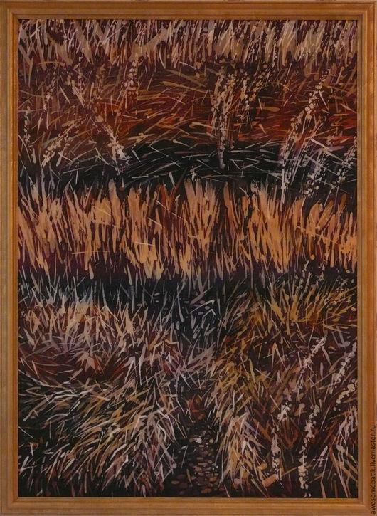 Пейзаж ручной работы. Ярмарка Мастеров - ручная работа. Купить Панно батик Травы. Handmade. Роспись, батик картина