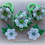 Украшения handmade. Livemaster - original item Jewelry sets Green meadow in the technique of kanzashi. Handmade.