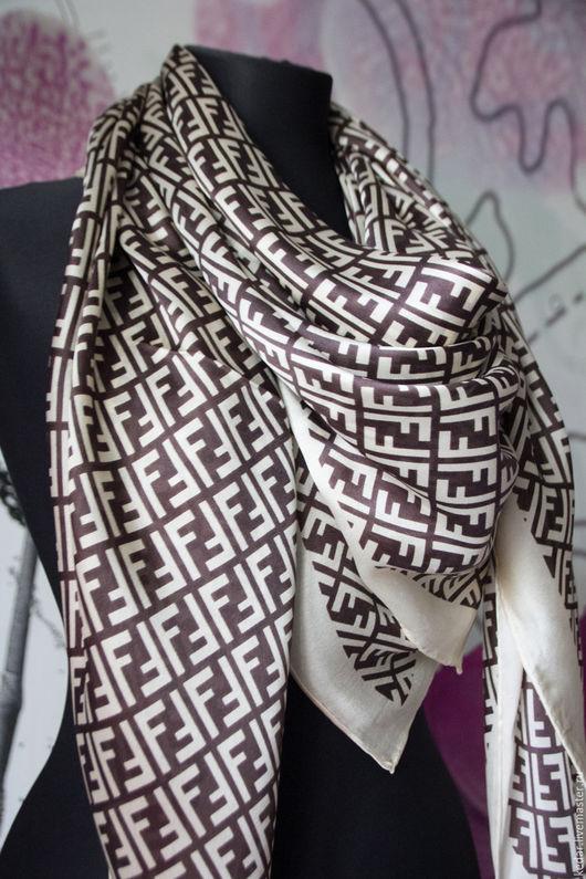 """Шали, палантины ручной работы. Ярмарка Мастеров - ручная работа. Купить Шёлковый платок из  итальянской ткани FENDI """"CLASSIC"""". Handmade."""