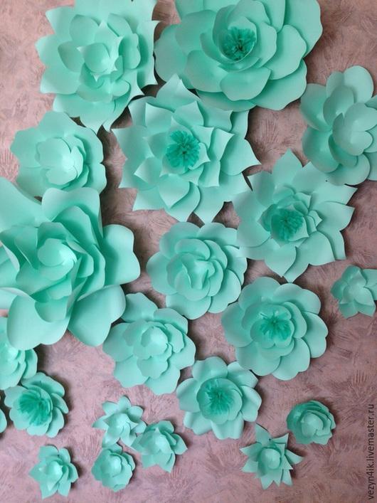 Свадебные цветы ручной работы. Ярмарка Мастеров - ручная работа. Купить Бумажные цветы мятного цвета. Handmade. Мятный цвет