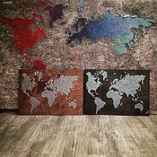 Картины и панно ручной работы. Ярмарка Мастеров - ручная работа карта мира  в стиле стринг арт. Handmade.