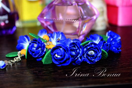 """Браслеты ручной работы. Ярмарка Мастеров - ручная работа. Купить Браслет """"Синие цветы"""". Handmade. Браслет, ручная работа, фурнитура"""