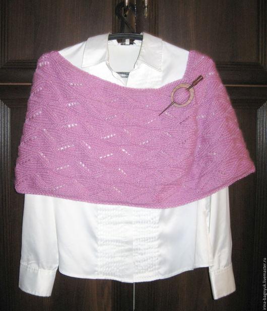 Шали, палантины ручной работы. Ярмарка Мастеров - ручная работа. Купить Снуд вязаный спицами Розовый гиацинт. Handmade. Розовый