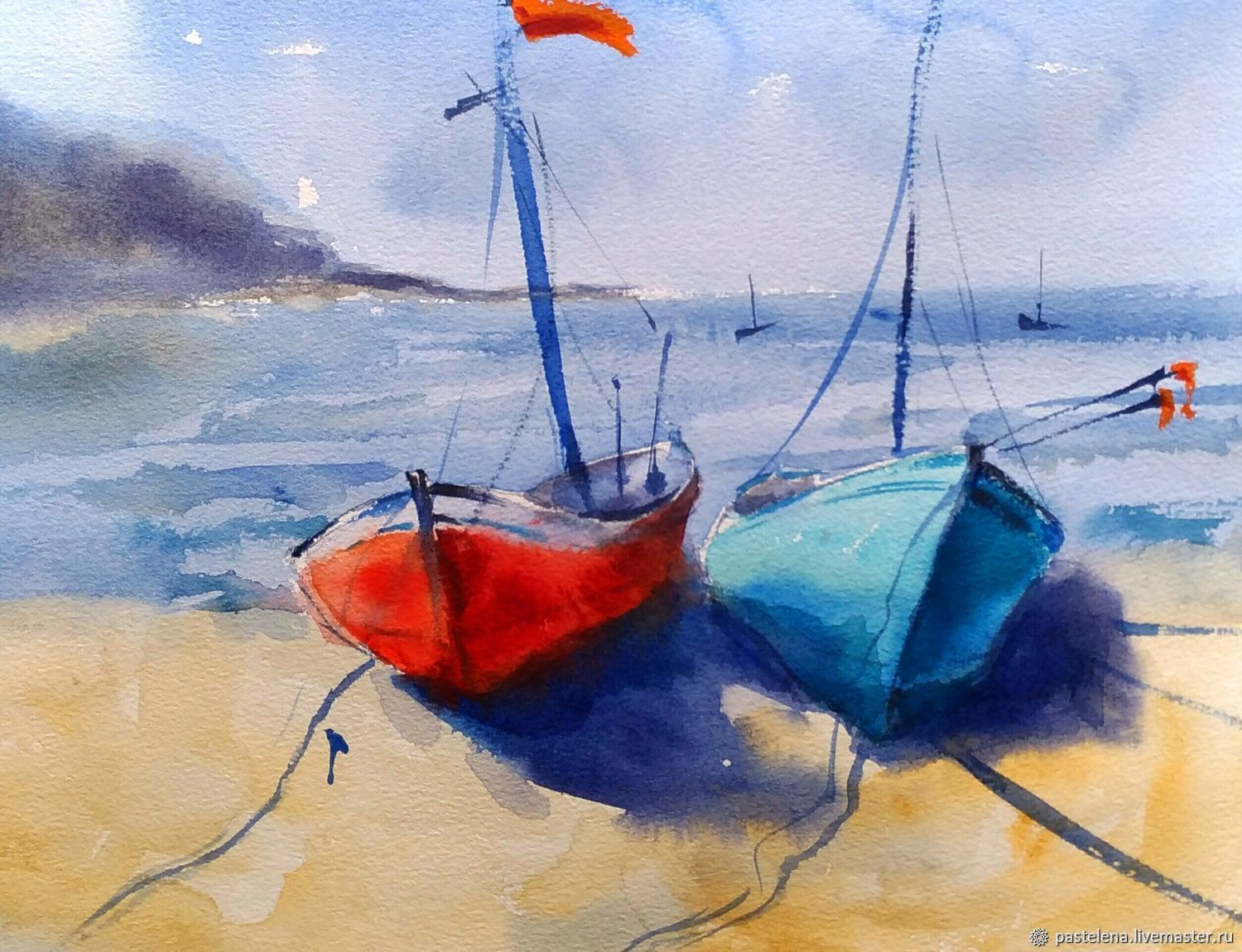 Watercolor Seascape with boats (turquoise orange sand), Pictures, Yuzhno-Uralsk,  Фото №1