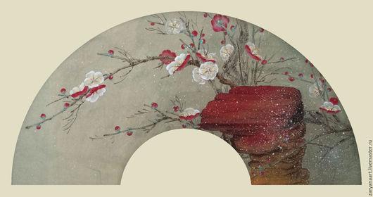 Картины цветов ручной работы. Ярмарка Мастеров - ручная работа. Купить Снег и цветущая слива. Handmade. Оливковый, китай, слива