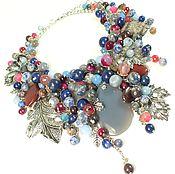 Украшения handmade. Livemaster - original item Jeans and Bordeaux. necklace made of natural stones. Handmade.