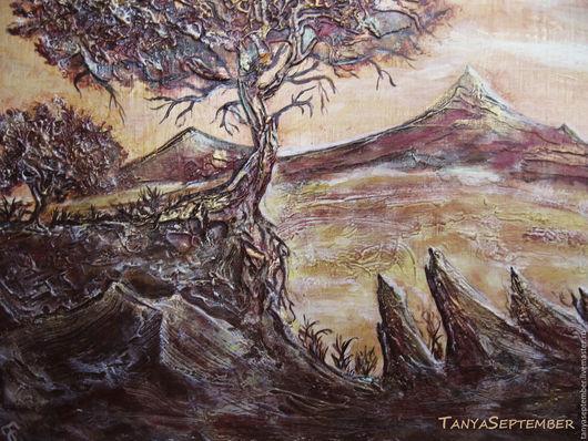 Пейзаж ручной работы. Ярмарка Мастеров - ручная работа. Купить Объемная картина Красные горы. Handmade. Бордовый, объемная живопись