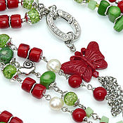 Украшения handmade. Livemaster - original item With pendant with pendant made of coral, pearl and agate