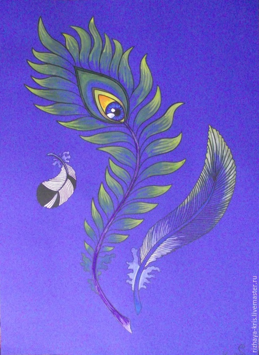"""Символизм ручной работы. Ярмарка Мастеров - ручная работа. Купить """"Теория третьего глаза"""". Handmade. Тёмно-синий, синий, перья"""