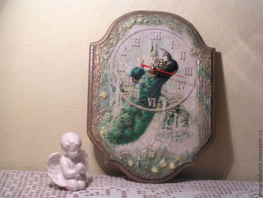 Часы для дома ручной работы. Ярмарка Мастеров - ручная работа. Купить Волшебный павлин Часы. Handmade. Часы для спальни, кракелюр