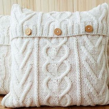 Textiles handmade. Livemaster - original item Knitted decorative pillow Heart. Handmade.