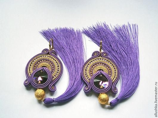 """Серьги ручной работы. Ярмарка Мастеров - ручная работа. Купить Серьги сутажные """"Shout"""". Handmade. Фиолетовый, подарок, handmade"""