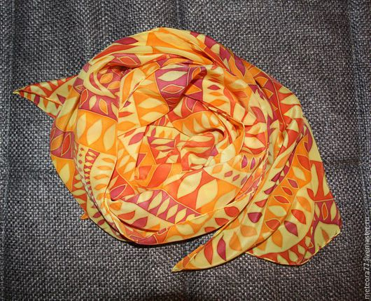 Шарфы и шарфики ручной работы. Ярмарка Мастеров - ручная работа. Купить Шарф шелковый Солнечный. Handmade. Желтый, шарф женский