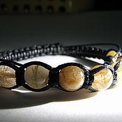 Украшения handmade. Livemaster - original item Shamballa bracelet with rutilated quartz