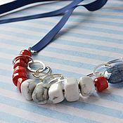 handmade. Livemaster - original item Beads necklace REP on the ribbon Nautical chic to buy. Handmade.