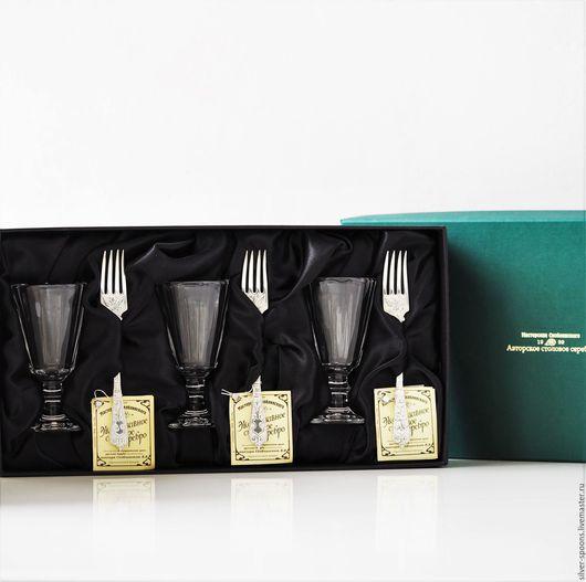 """Подарки для мужчин, ручной работы. Ярмарка Мастеров - ручная работа. Купить """"ГРАНЕНЫЙ-25"""" набор на троих 3 хрустальных лафитника+3 вилки. Handmade."""