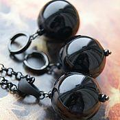 Украшения handmade. Livemaster - original item Earrings and pendant blackest Black set with glass hollow balls. Handmade.