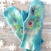 Аксессуары handmade. Livemaster - original item Варежки  женские  валяные варежки голубые варежки с цветами. Handmade.