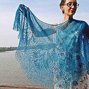 Аксессуары handmade. Livemaster - original item Openwork knitted shawl of Gentian made of mohair with silk. Handmade.