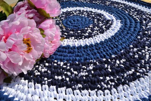 """Текстиль, ковры ручной работы. Ярмарка Мастеров - ручная работа. Купить Коврик """"Зимушка"""". Handmade. Тёмно-синий, уютный подарок"""