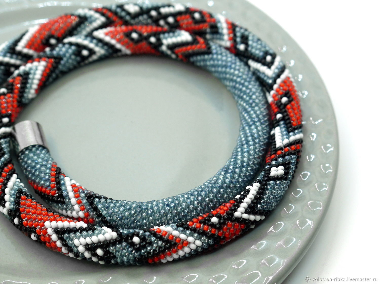 Necklace handmade. Harness Red geometry. Handmade jewelry from goldfish. Fair Masters.
