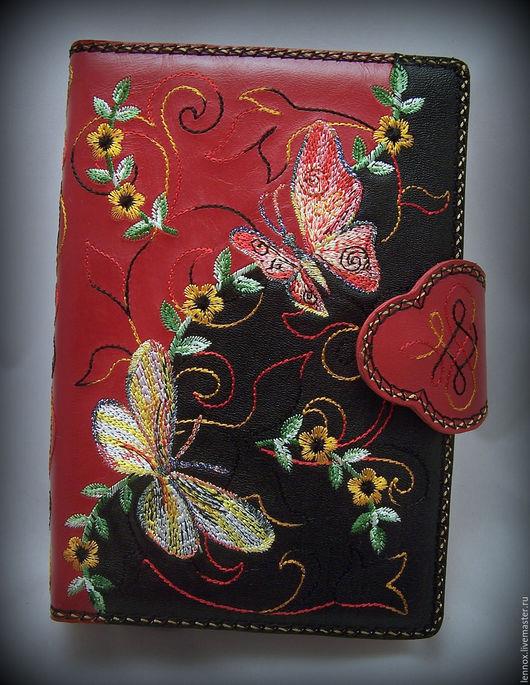 Ежедневники ручной работы. Ярмарка Мастеров - ручная работа. Купить Оранайзер канцелярский на кольцах FILOFAX  кожа с вышивкой Бабочки. Handmade.