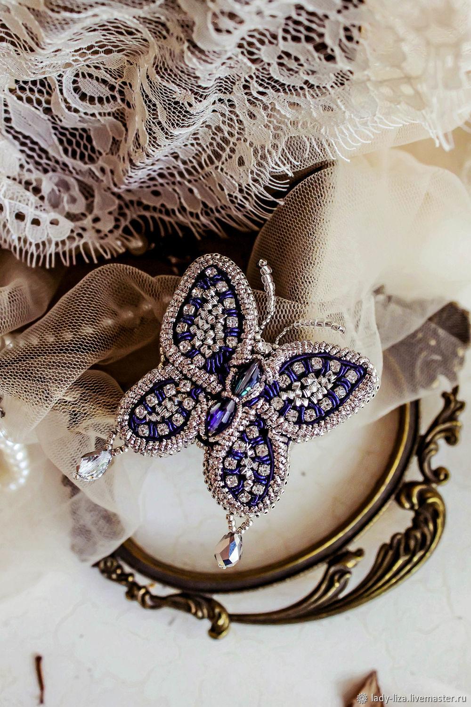 Brooch BUTTERFLY. soutache brooch. Silver butterfly, Brooches, Armavir,  Фото №1