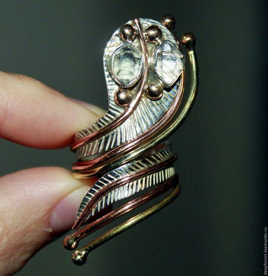 Кольца ручной работы. Ярмарка Мастеров - ручная работа. Купить Кольцо Херкимерский алмаз серебро золото. Handmade. Серебро 925
